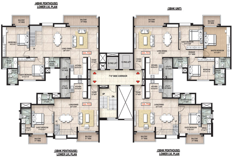 Floor plan for Residential apartment plan